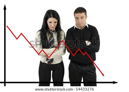 Two disappointed   business people looking down how the quotations  falling - stock photo