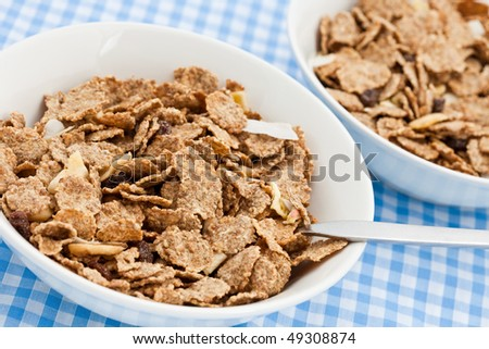 Two dishes of delicious bran flakes on a chequered cloth - stock photo