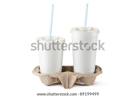Two disposable cups for beverages in cardboard holder. Isolated on a white. - stock photo