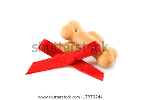 Two dog biscuits and a red bow. Give to your dog the right reward