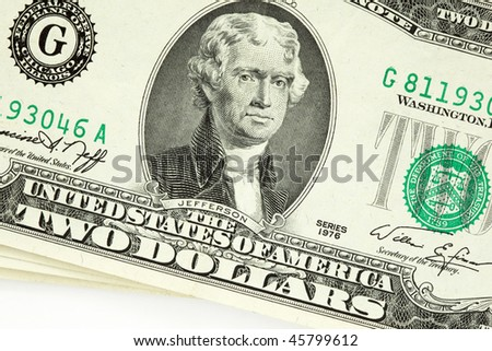Two dollar bill from 1976 on white background.