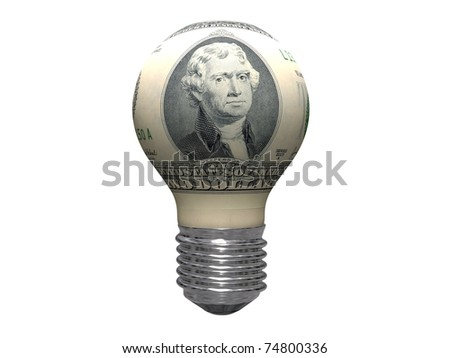 two-dollar light bulb isolated on white background