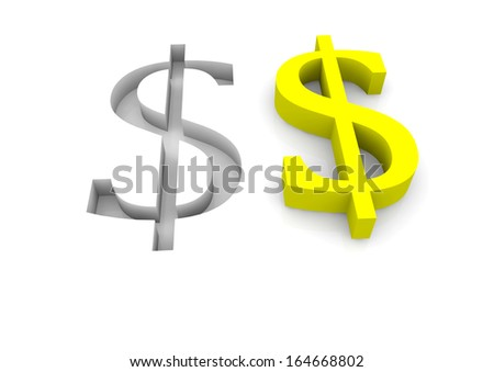 two dollar signs in yellow and as relief - stock photo