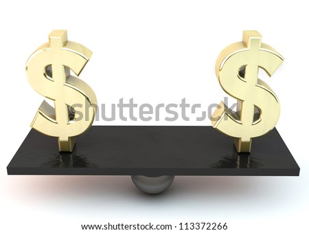 Two dollar symbols on a scale unmatched - stock photo