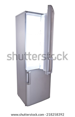 Two door gray refrigerator - stock photo