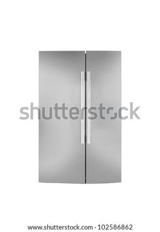Two door refrigirator.On a white background. - stock photo