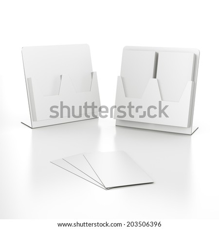 two double holders with blank folded leaflets in DL size isolated - stock photo