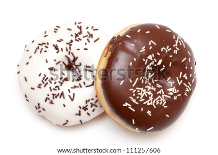 two doughnuts isolated on white backgorund - stock photo