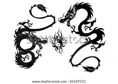 two Dragon and yin yang symbol vector illustration isolated on white background. Cool tattoo - stock photo