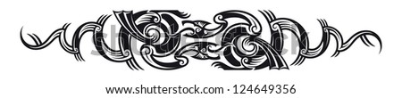 Two dragons. Maori styled tribal tattoo pattern. Raster. Check my portfolio for a vector version. - stock photo