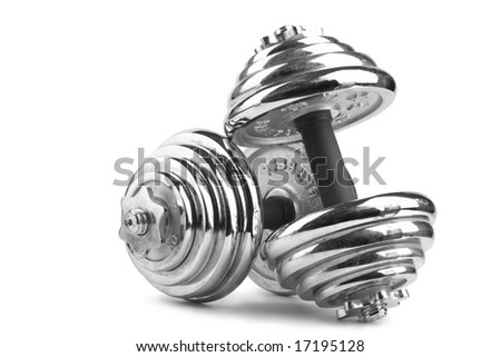 two dumbbells isolated over white background - stock photo