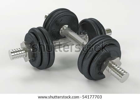Two dumbbells stacked including clipping path - stock photo