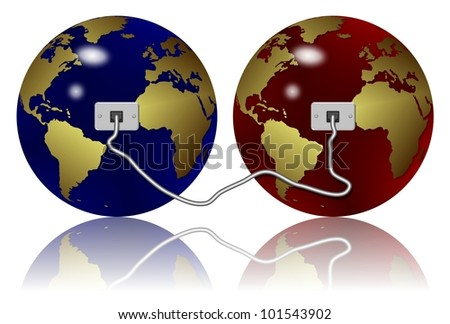 two earth globes connected with an Ethernet cable / Ethernet connection