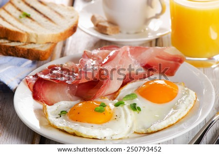 Two  eggs and bacon for healthy breakfast . selective focus