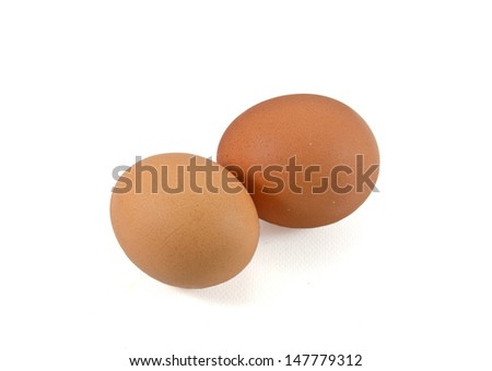 two eggs are isolated on a white background