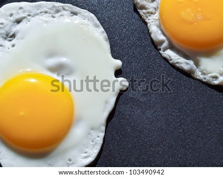 Two eggs cooking in a frying pan