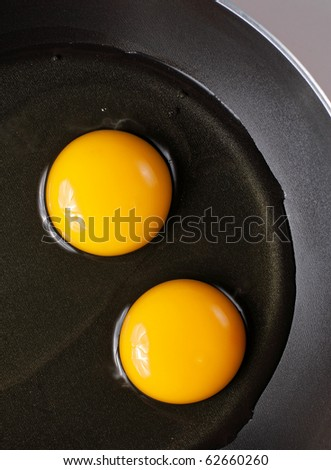 two eggs on the frying pan ready to cook - stock photo