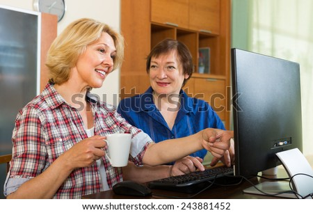 Two elderly women looking at PC screen and smiling  - stock photo