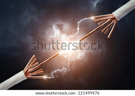 Two electric cables - stock photo