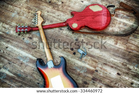 two electric guitars in hdr tone mapping effect - stock photo