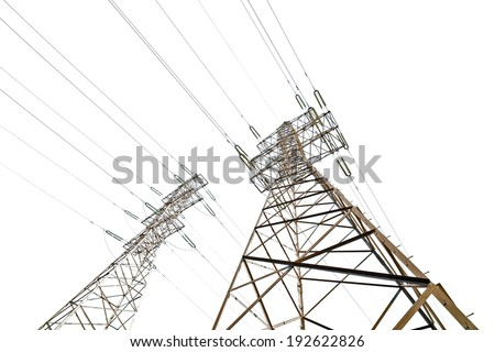 two electrical steel pylons isolated on white background - stock photo