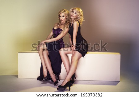 Two elegance ladies hugging  - stock photo