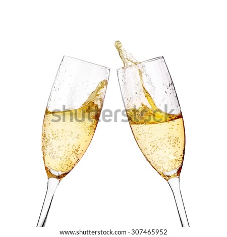 Two elegant champagne glasses - stock photo