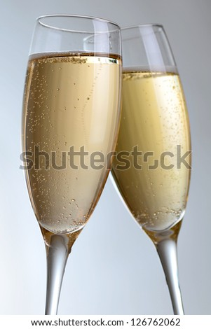 Two elegant champagne glasses - studio shot