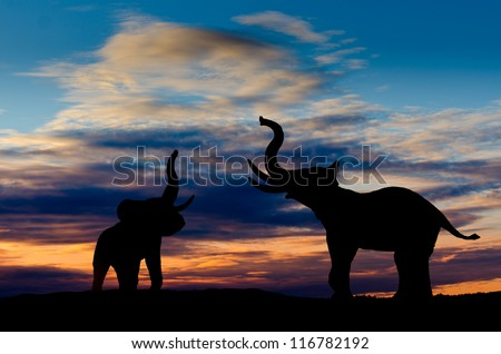 Two elephant silhouettes trumpeting in the sunset with cloudy sky - stock photo