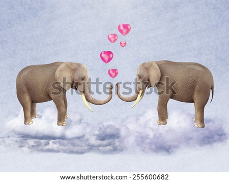 Two elephants in love. Illustration - stock photo