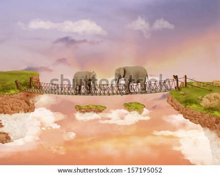Two elephants on a bridge. Illustration - stock photo