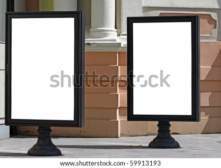 Two empty billboards on the city street to add text - stock photo