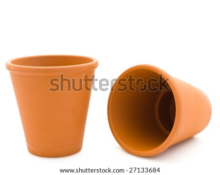 two empty ceramic planty pot over the white background - stock photo