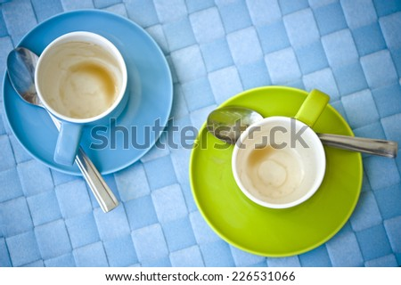 two empty cups of coffee  - stock photo