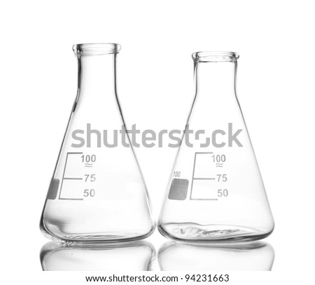 Two empty flasks with reflection isolated on white - stock photo