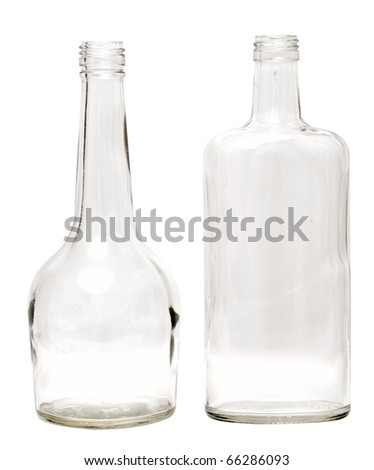 two empty glass bottles isolated on white