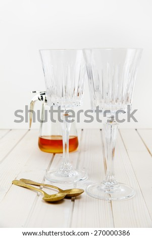 two empty glass for wine. still life  - stock photo