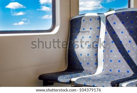 Two empty seats in the subway - stock photo