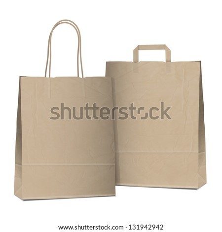 Two empty shopping brown bags. Raster version