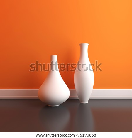 Two Empty Vases On Floor Interior Stock Illustration 96190868