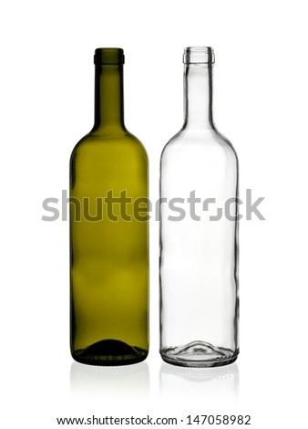 Two empty wine bottles - stock photo