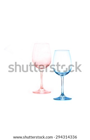 two empty wine glass with filter - stock photo