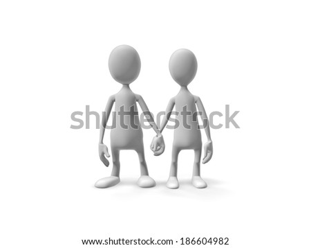 Two enamored people standing hand in hand on a white background.