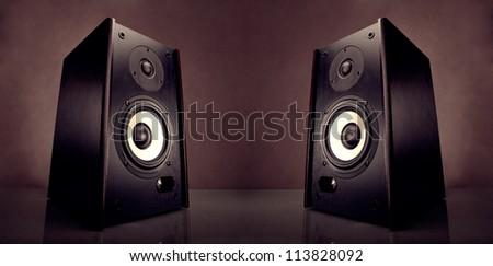Two energy audio speakers - stock photo