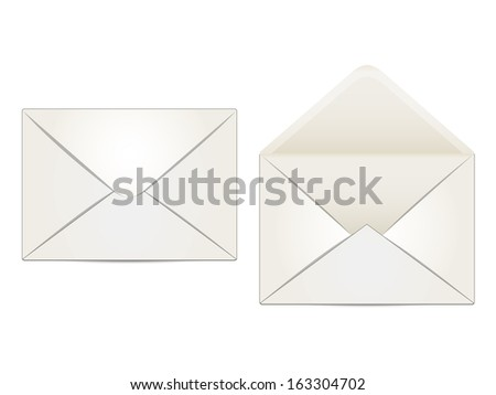 two envelopes beige, indoor and outdoor, on a white background
