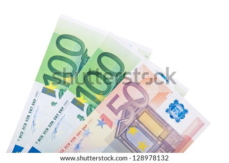 Two 100 euro and one single 50 euro note. All on white background. - stock photo