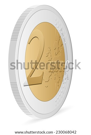 two euro coin on a white background.