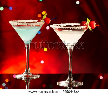 Two exotic cocktails - stock photo