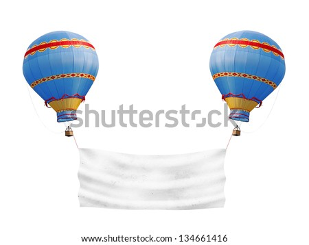 Two exotic colorful hot air balloon carrying a blank banner, isolated against white. - stock photo