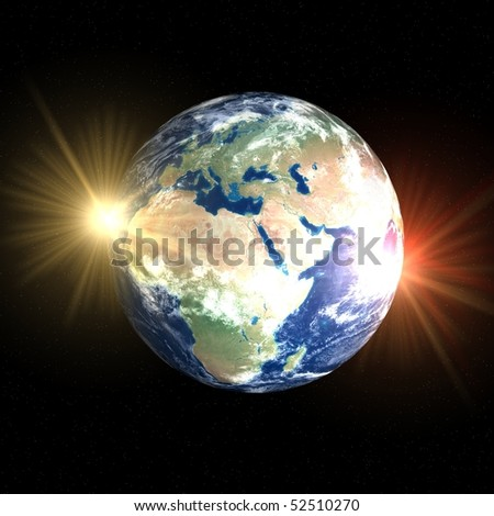Two faces of Earth - double sunrise over Africa and Europe - stock photo